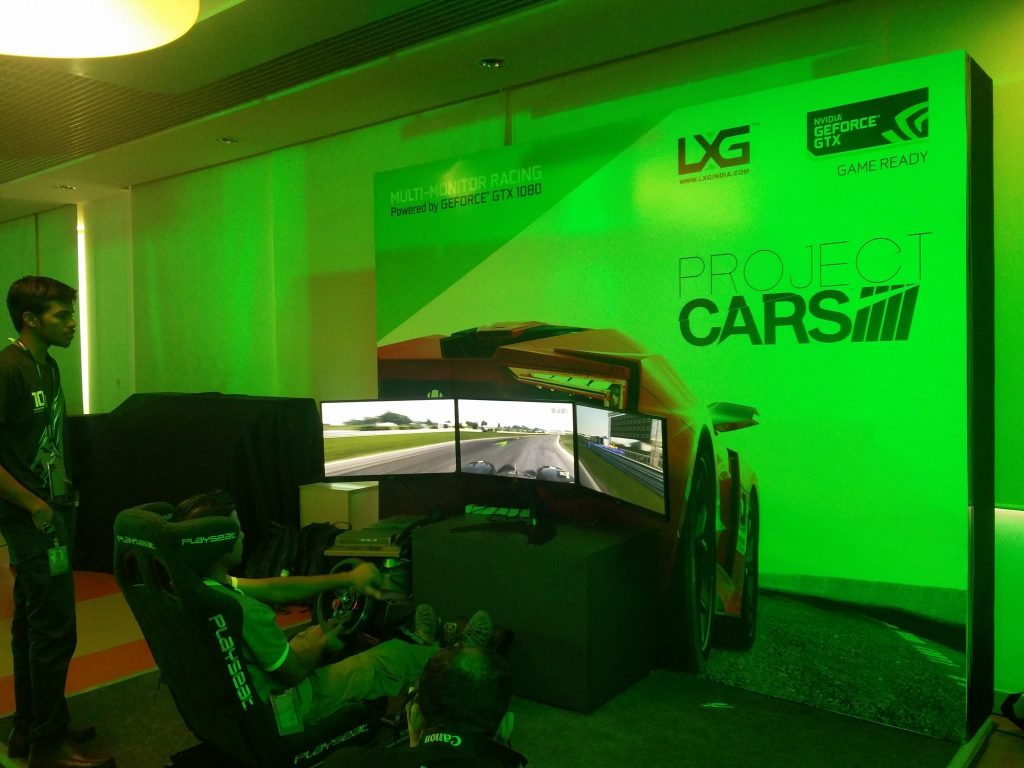 multi-monitored playseat racing wheel by lxgindia at nvidia india 10 gaming event