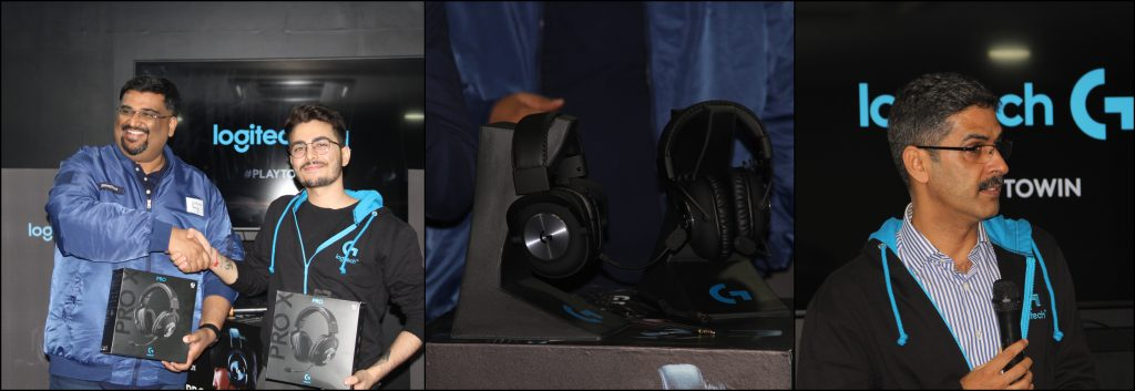 From left to right: Streamers SteveZDad and HydraFlick at the launch  event, the newly launched Logitech G Pro and G Pro X headsets, Logitech  exec ABC speaking at the launch event