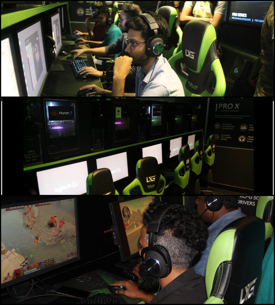 From top to bottom: Gamers trying out the Logitech G Pro X headset, the  Logitech experience zone set up by LXG, and the Logitech G Pro X in  action
